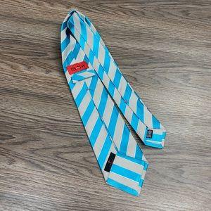 ISAIA Seven Fold Teal & White Stripe Tie